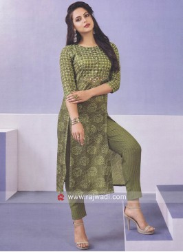 Green Zari Work Trouser Suit
