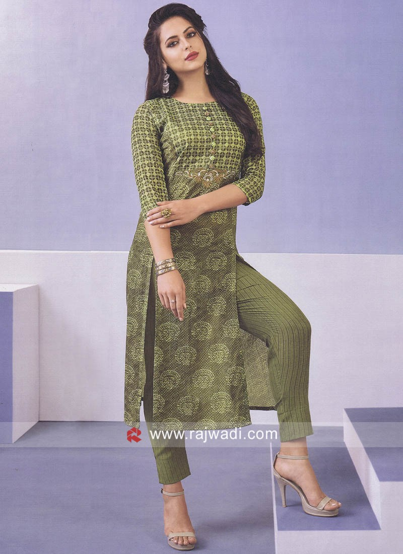 Green Zari Work Trouser Suit