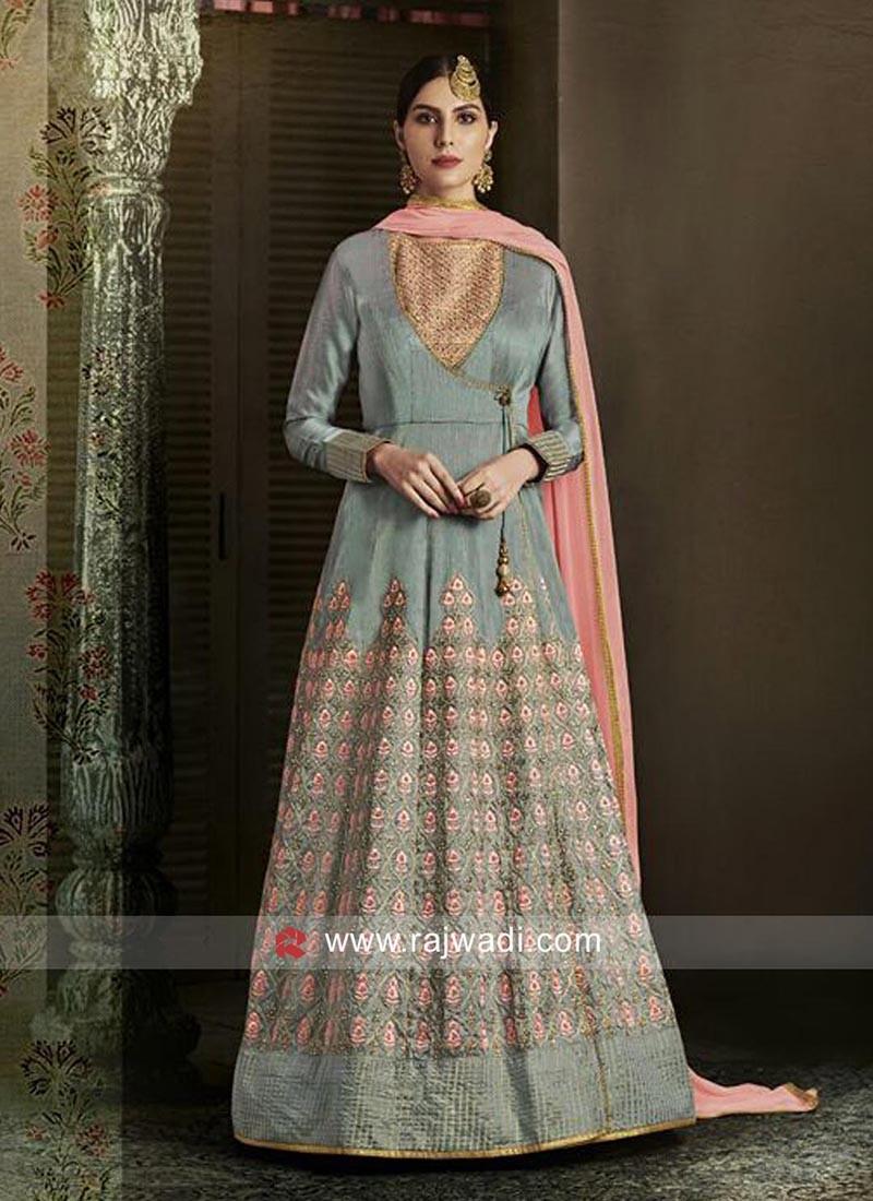 Grey A Line Angrakha Salwar Kameez for Eid