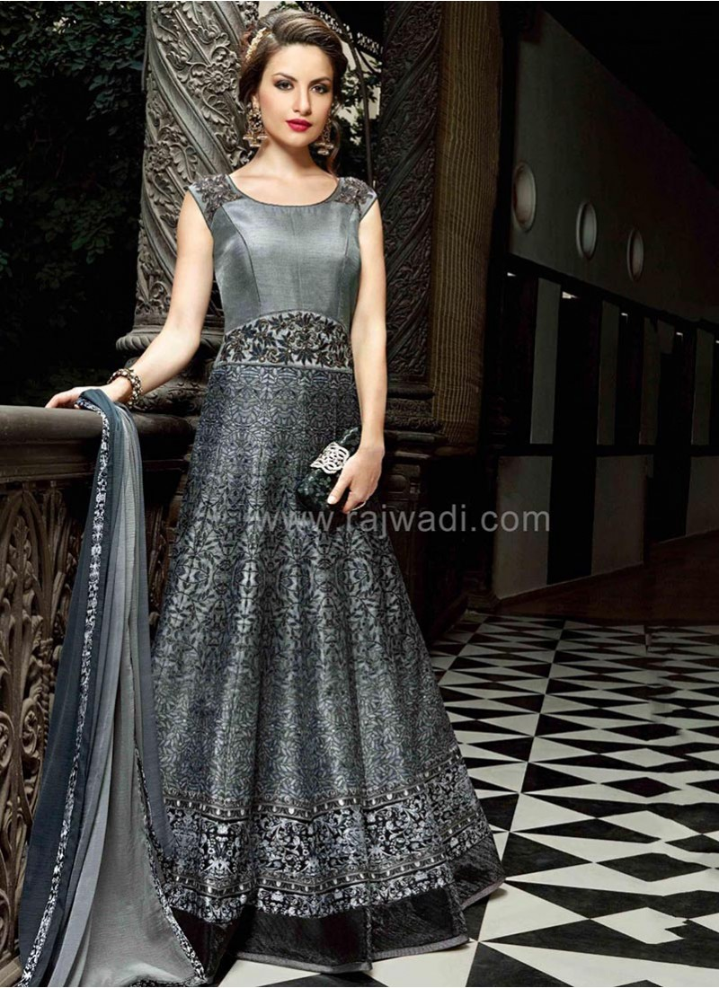 Grey Anarkali Dress Material