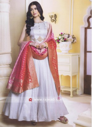 Grey Anarkali Suit with Brocade Silk Dupatta