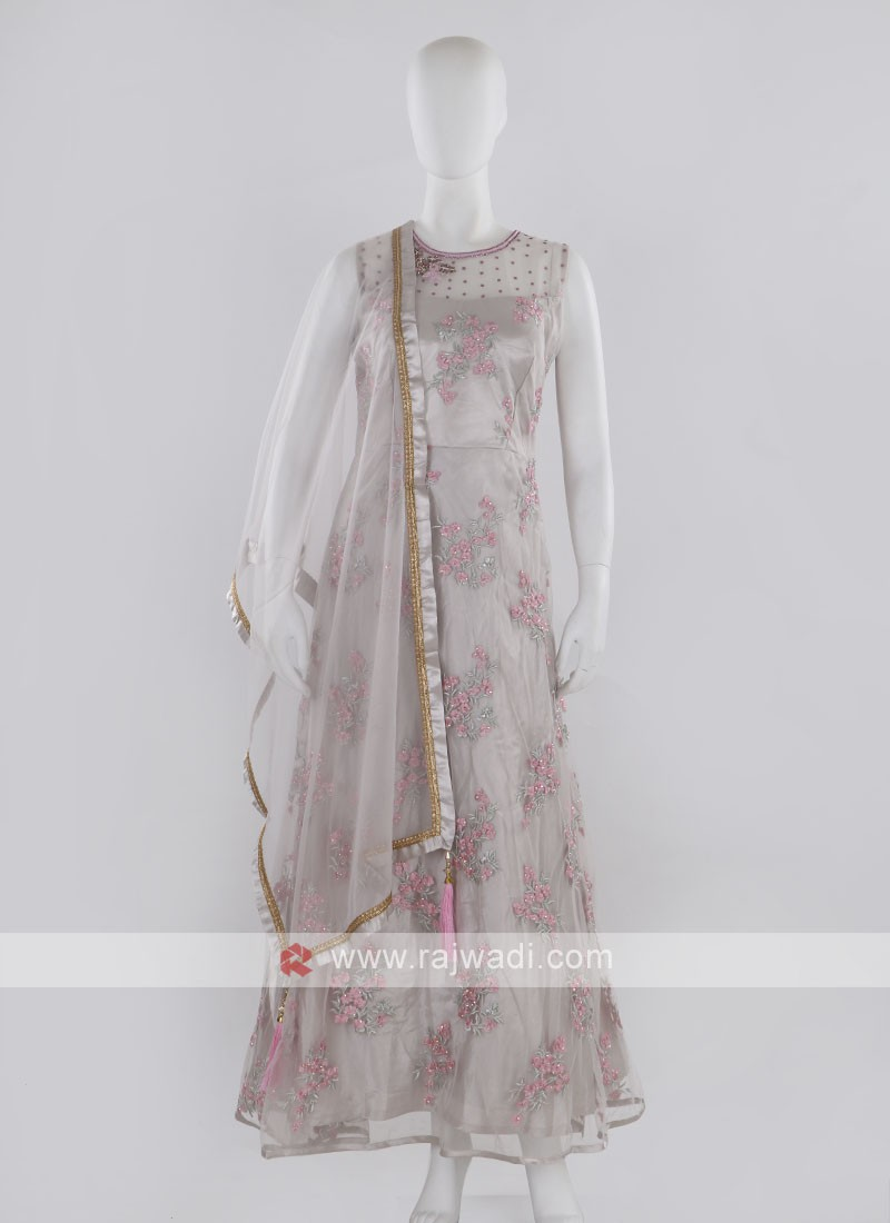 Grey Anarkali Suit with dupatta