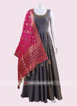 Grey Anarkali Suit with Rani Dupatta