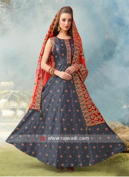 Grey Anarkali Suit with Red Embroidered Dupatta