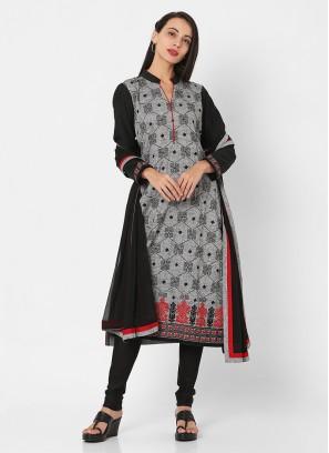 Grey And Black Color Churidari Suit