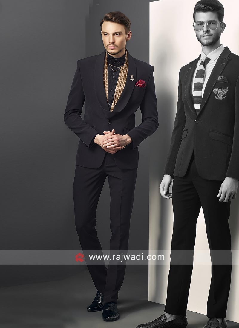 Attractive Black Party Wear Suit