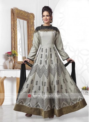 Grey and Black Embroidered Anarkali Dress