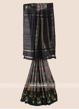 Grey and Black Pure Silk Patola Saree