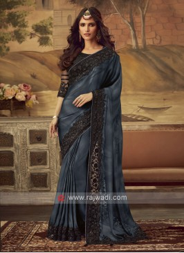 Grey and Black Shaded Party Wear Saree