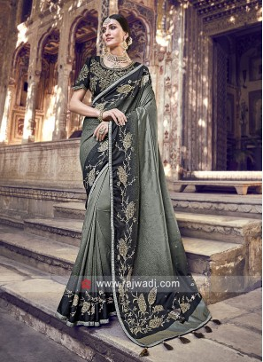 Grey and Black Shaded Saree