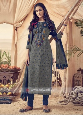 Grey And Blue Cotton Churidar Suit