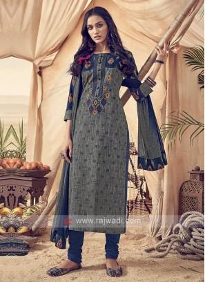 Shagufta Grey And Blue Cotton Churidar Salwar Suit