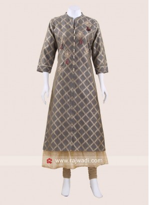 Grey and Cream Double Layered Kurti