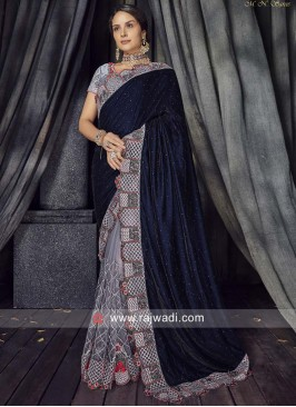 Grey and Dark Blue Half n Half Saree