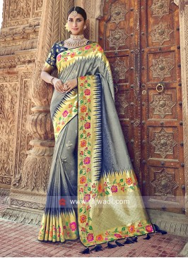 Grey and Dark Blue Shaded Woven Saree