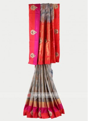 Grey and gajari pink color pure silk saree