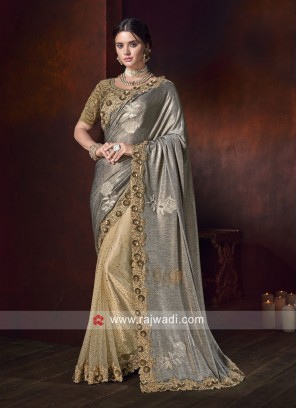 Grey and Golden Half N Half Saree