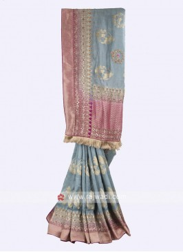 Grey and Magenta color banarasi silk saree