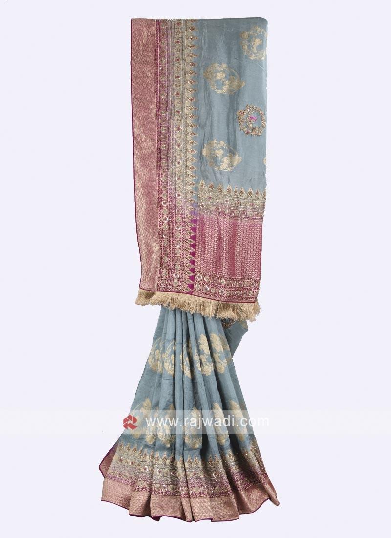 Grey and Magenta color banarasi silk saree