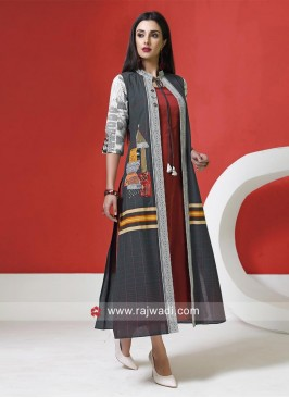 Grey and Maroon Jacket style Long Kurti