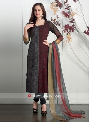 Dressline Grey and Maroon Straight fit Suit