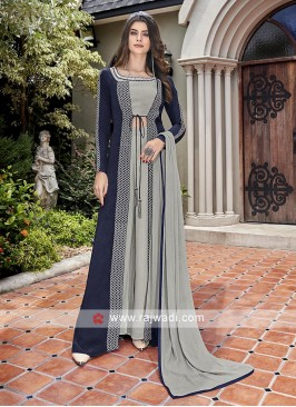 Grey and navy blue palazzo suit
