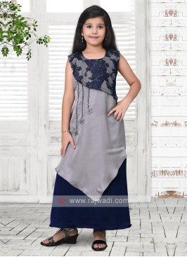 grey and navy blue salwar suit