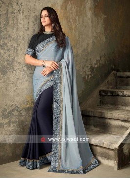 Grey and Navy Half n Half Saree