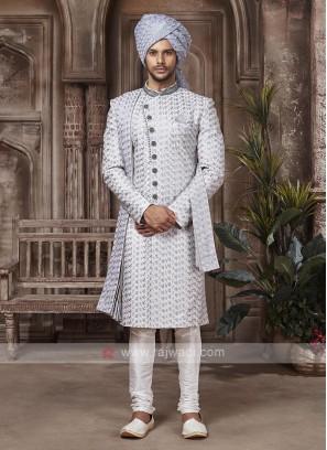 Grey  And Off-white Colour Sherwani