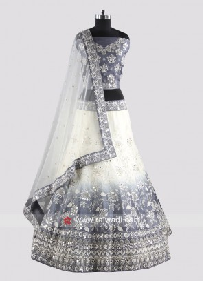 Grey And Off White Unstitched Lehenga Choli