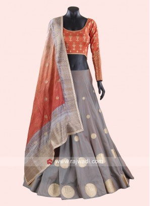 Grey and Orange Polka Dot Lehenga Choli
