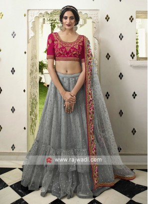 Grey and pink lehenga choli