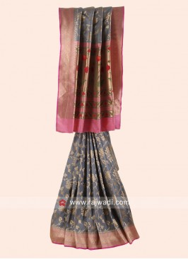 Grey and Pink Patola Saree