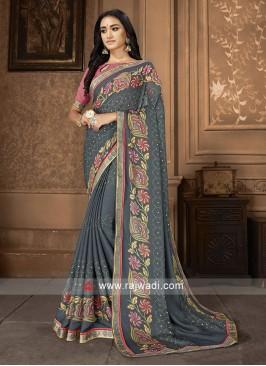 Grey And Pink Printed Saree