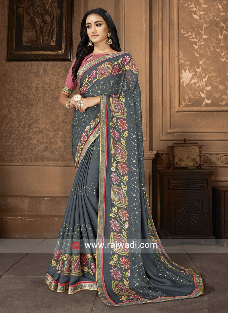 Grey And Pink Printed Saree