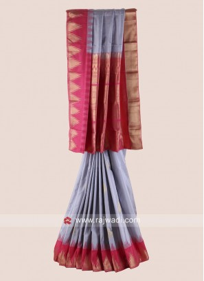 Grey and Pink Pure Silk Saree