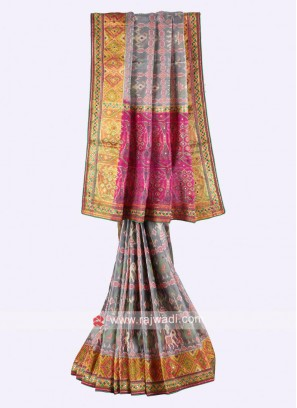 Grey and rani color pure silk saree