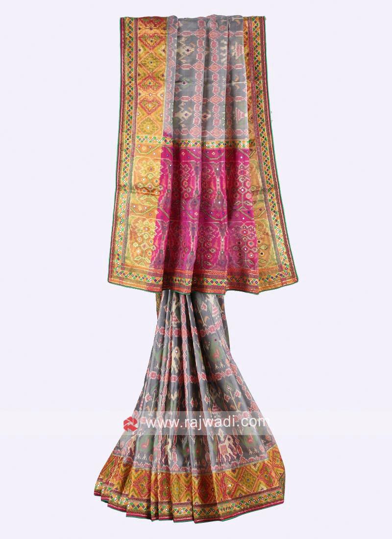 Grey and rani color pure silk saree