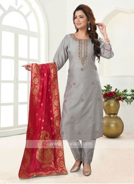 Grey And Rani Cotton Silk Trouser Suit