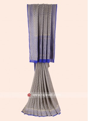 Grey and Royal Blue Woven Saree