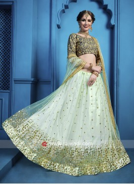 Grey and Sky Blue Lehenga Choli