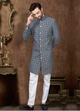 Grey And White Mens Indo-Western