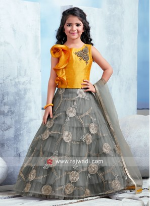 Grey and Yellow Choli Suit
