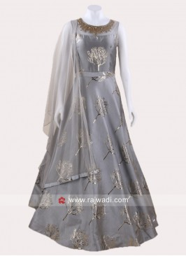 Grey Art Silk Anarkali Suit