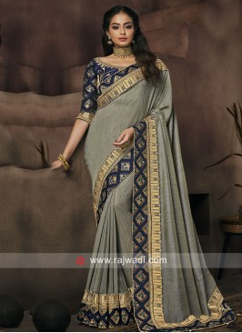 Grey Art Silk Border Work Saree