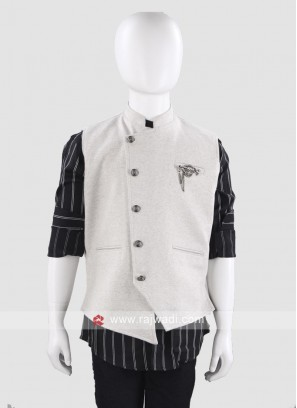 Grey Art Silk Waist Coat For Boys