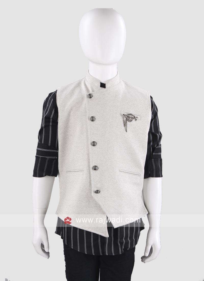 Grey Art Silk Waist Coat For Boys