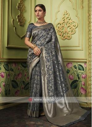 Dark Grey Banarasi Silk Saree
