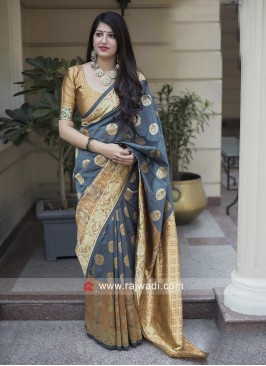 Grey Banarasi Silk Weaving Saree