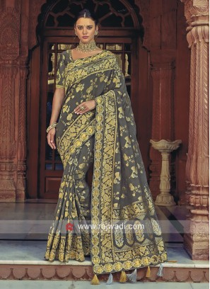Grey Banarasi Silk Wedding Saree